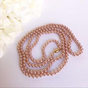Vintage Blush Pink Faux Pearl Long Necklace